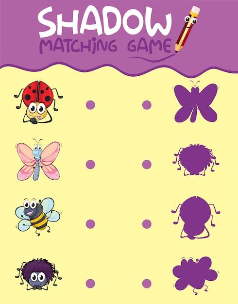 Insecten schaduw matching game sjabloon Gratis Vector