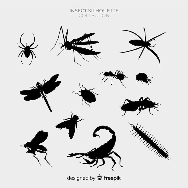 Insects silhouet pack Gratis Vector