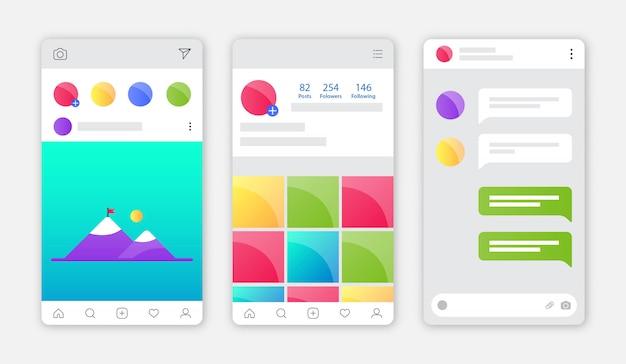 Instagram-app-interface met plat ontwerp Premium Vector