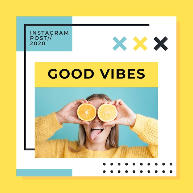 Instagram-bericht met goede vibes Gratis Vector