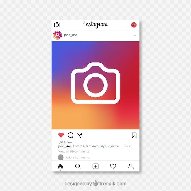 Instagram-bericht met transparante achtergrond Gratis Vector