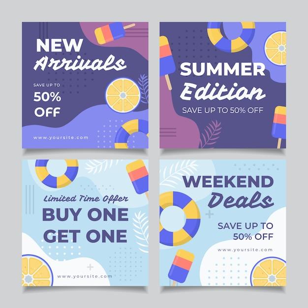 Instagram-bericht met zomerverkoopsjabloon Gratis Vector