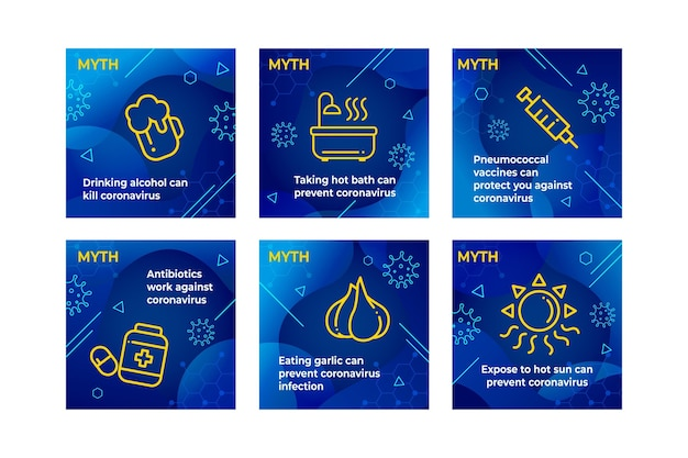 Instagram-berichten over mythen en feiten over het coronavirus Gratis Vector