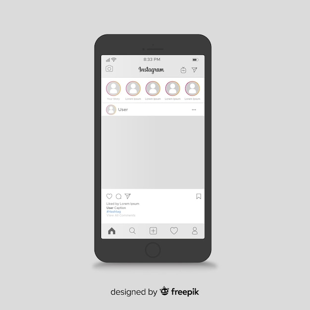 Instagram berichtsjabloon op de iphone Gratis Vector