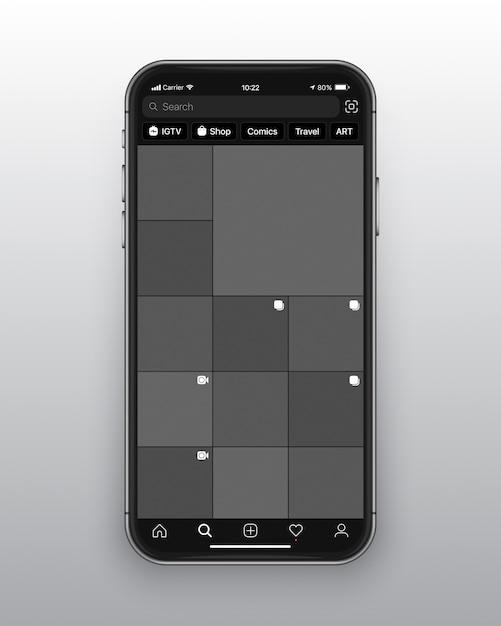 Instagram dark mode ui ux-sjabloon Premium Vector
