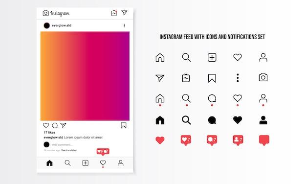Instagram-feed met pictogrammen en meldingen ingesteld Premium Vector