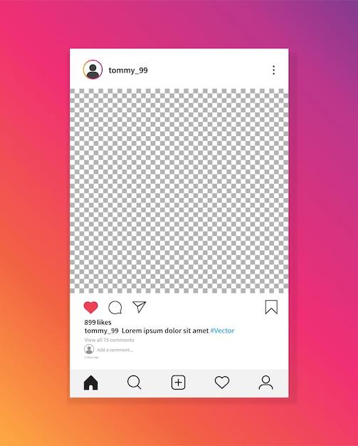 Instagram fotolijstsjabloon. sociaal netwerk bericht. Premium Vector