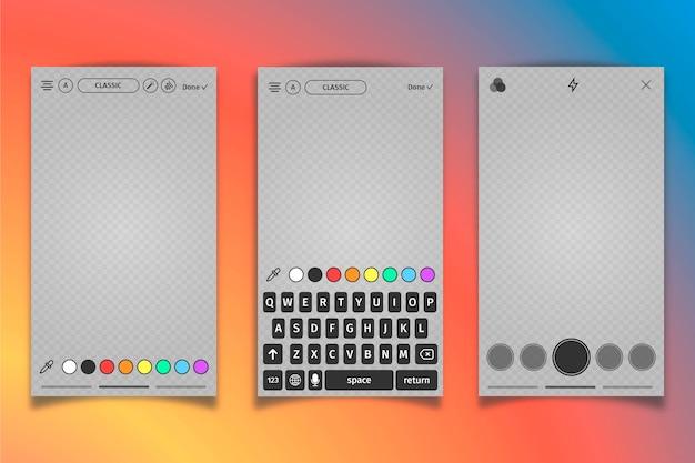 Instagram grijs profiel interface sjabloon en toetsenbord Gratis Vector