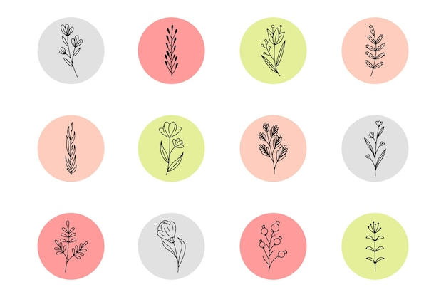 Instagram hand getrokken bloemenverhalen hoogtepunten Gratis Vector
