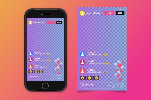 Instagram-interface streaming Gratis Vector