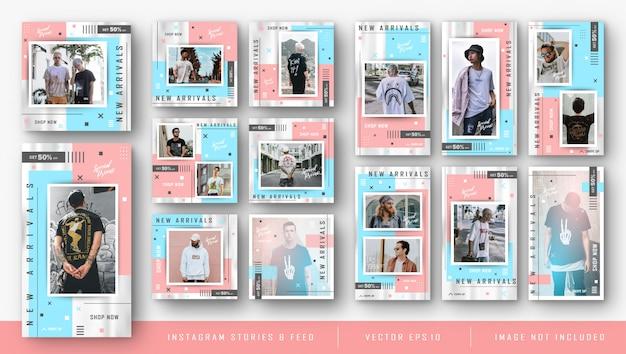 Instagram kit voor mode verkoop bundelsjabloon Premium Vector