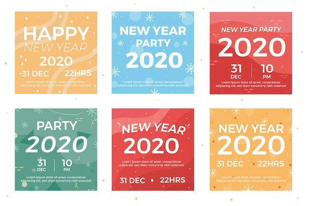 Instagram nieuwjaars postverzameling Gratis Vector