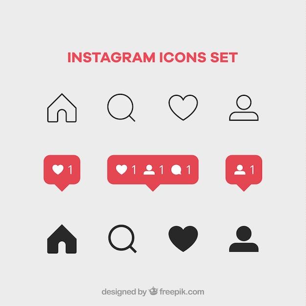 Instagram pictogrammen instellen Gratis Vector