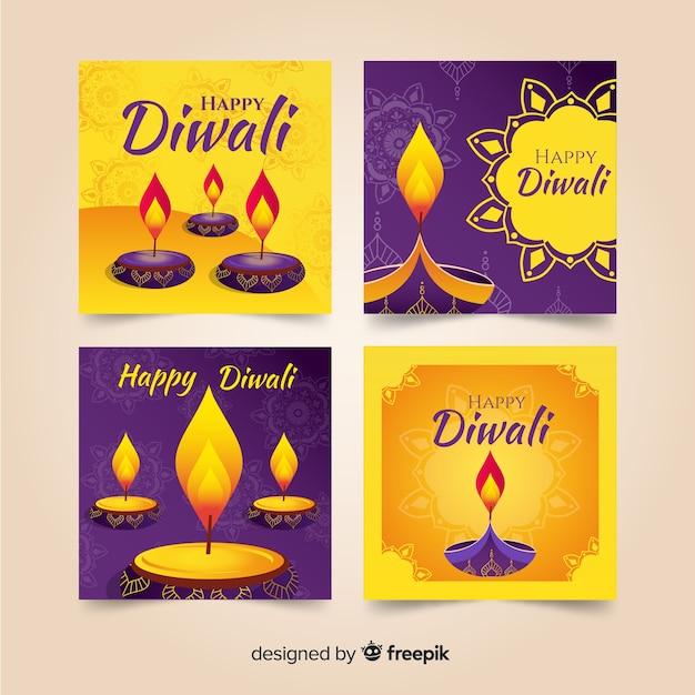 Instagram post diwali collectie Gratis Vector