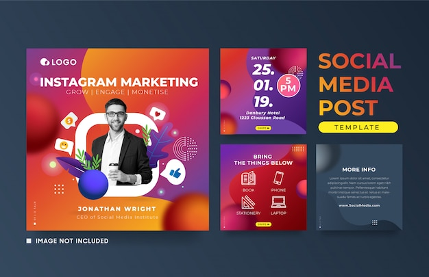 Instagram post marketing evenement reclame vierkante sjabloon voor spandoek Premium Vector