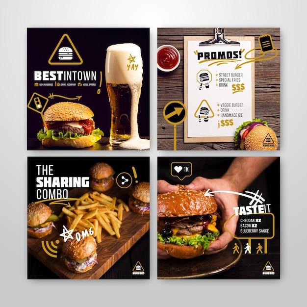 Instagram posts collectie voor burgerrestaurant Premium Vector