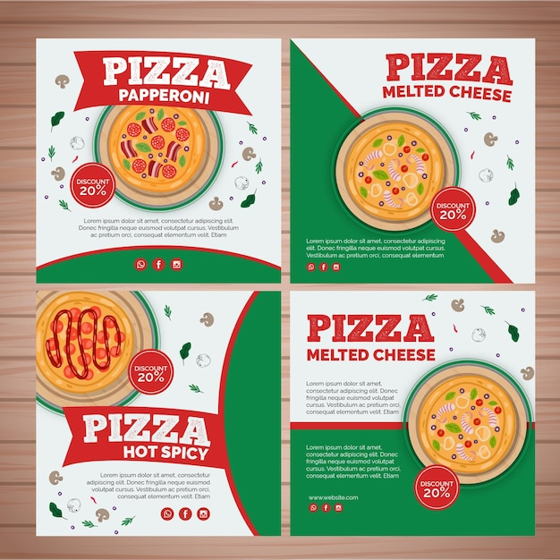 Instagram posts collectie voor pizzarestaurant Premium Vector