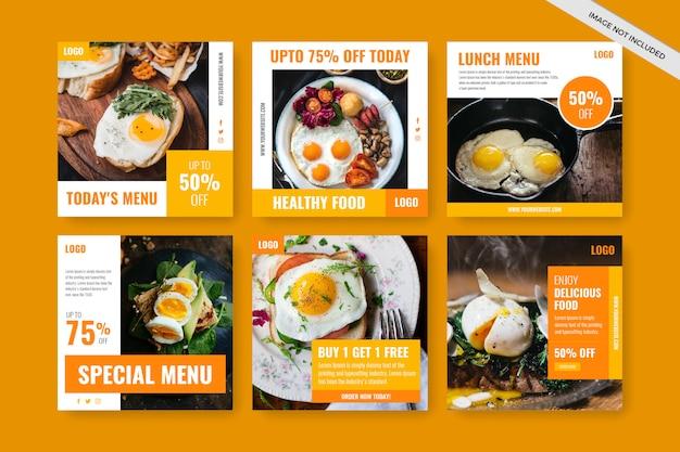 Instagram postsjabloon of vierkante flyer voor restaurants Premium Vector