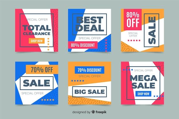 Instagram-postverzameling voor verkoopaanbiedingen Gratis Vector