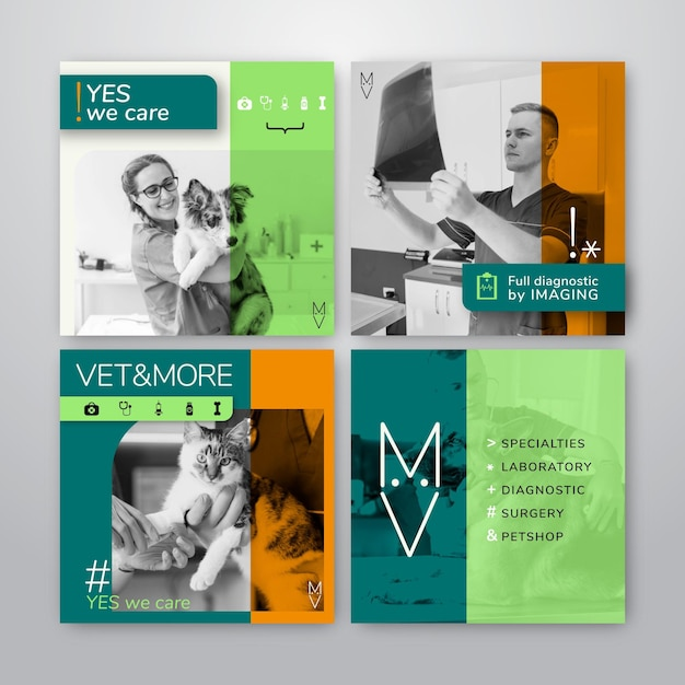 Instagram postverzameling voor veterinaire zaken Gratis Vector