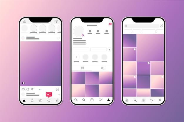 Instagram profiel interface sjabloon met mobiele telefoon Gratis Vector