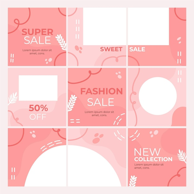 Instagram puzzel feed-sjabloon Premium Vector