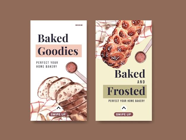 Instagram-sjablonen voor bakkerijverkoop Gratis Vector