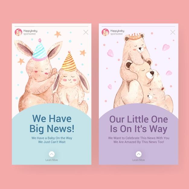 Instagram-sjabloon met babydouche ontwerpconcept voor sociale media aquarel vectorillustratie. Gratis Vector
