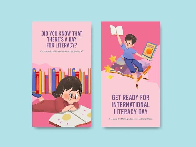 Instagram-sjabloon met conceptontwerp van de internationale alfabetiseringsdag voor online marketing Gratis Vector
