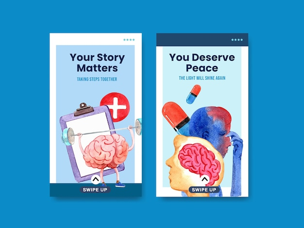 Instagram-sjabloon met conceptontwerp van de wereld geestelijke gezondheid dag voor sociale media en online marketing aquarel vector illustraion. Gratis Vector