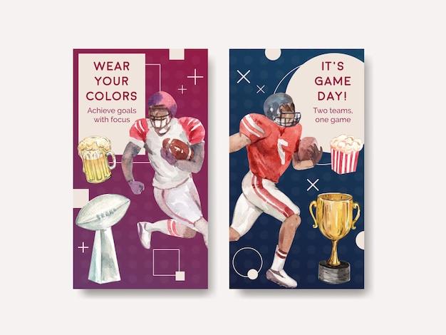 Instagram-sjabloon met super kom sport conceptontwerp voor online marketing en sociale media aquarel vectorillustratie. Gratis Vector