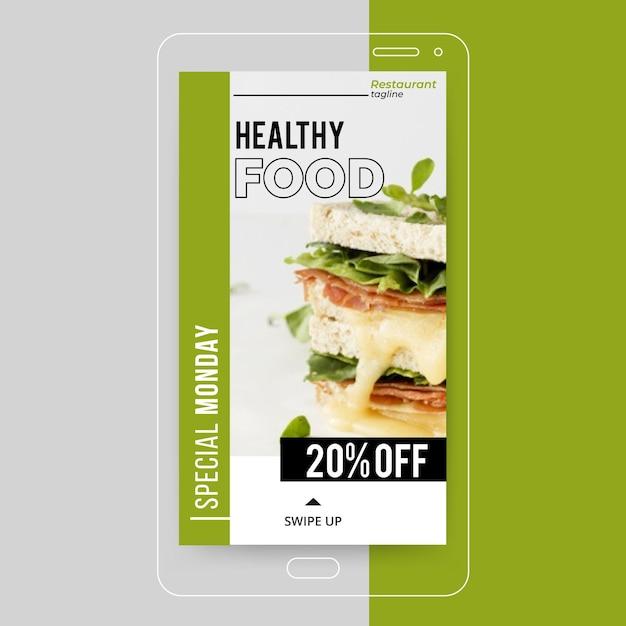 Instagram-verhaal over gezonde voeding Gratis Vector