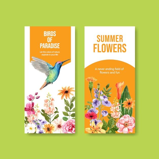 Instagram verhaalsjabloon met lentebloemen en kolibrie illustratie Gratis Vector