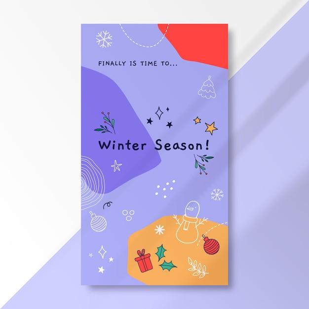 Instagram verhaalsjabloon van doodle kleurrijke wintertekening Gratis Vector