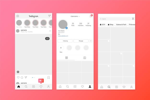 Instagram verhalen interface sjabloon Gratis Vector