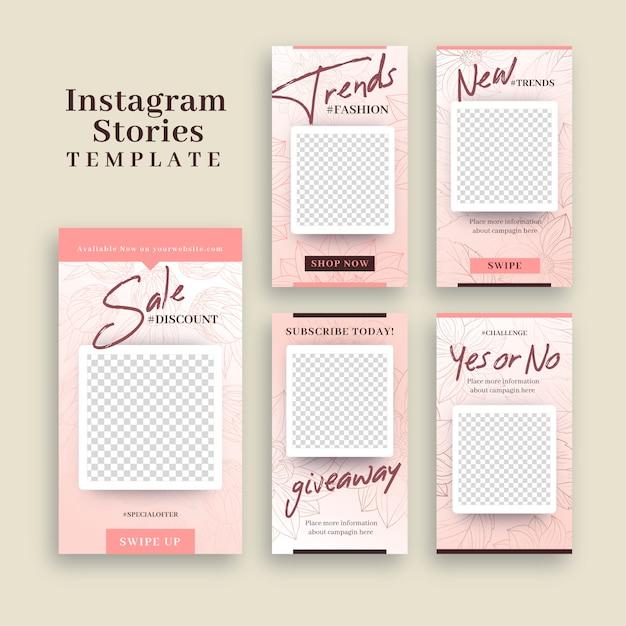 Instagram-verhalen sjabloon met leeg frame Gratis Vector