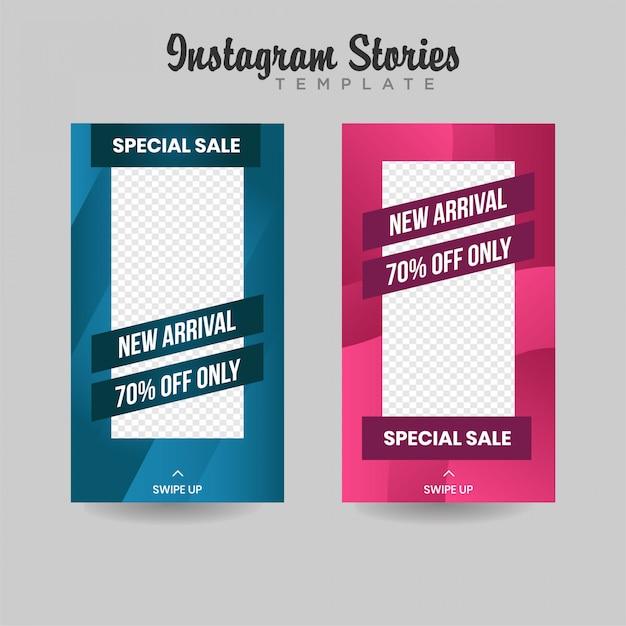 Instagram verhalen sjabloon verkoop banner premium Premium Vector