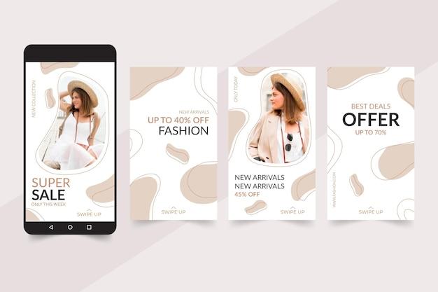 Instagram verhalencollectie voor modeverkoop Gratis Vector