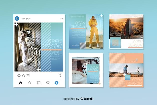 Instagram verkoop post collectie Gratis Vector