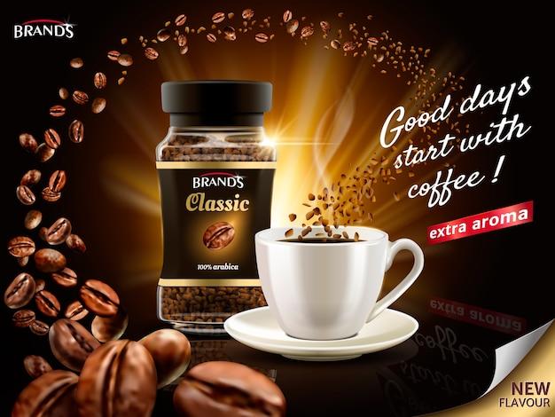 Instant arabica koffie-advertentie, omringd door talloze koffieboonelementen, illustratie Premium Vector