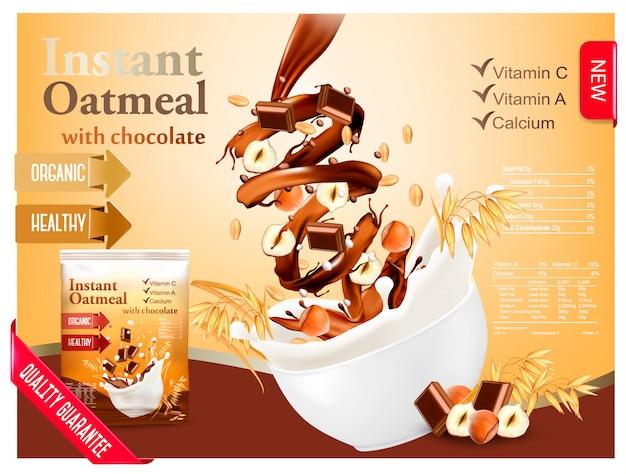 Instant havermout met chocolade en hazelnoot advertentie concept. melk stroomt in een kom met graan en noten. . Premium Vector