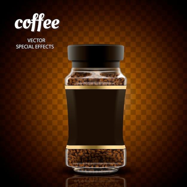 Instant koffie pot illustratie, transparante achtergrond, illustratie Premium Vector