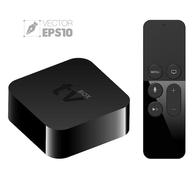 Instelkast voor digitale mediaspeler met apple tv-stijl op afstand Premium Vector