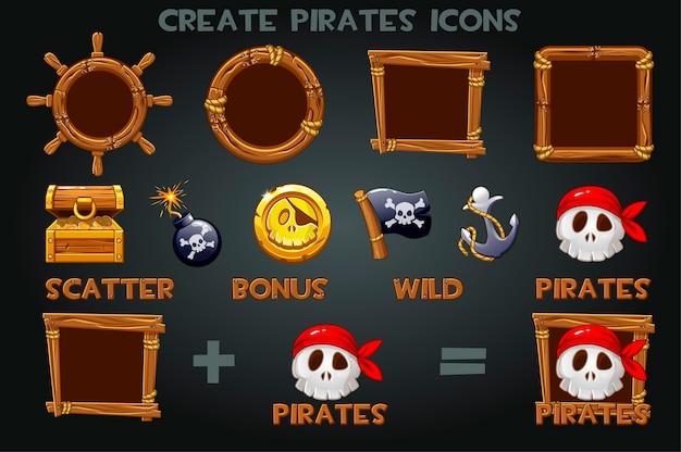 Instellen om illegale pictogrammen en houten lijsten te maken. pak piratensymbolen, vlag, munt, anker, schat. Premium Vector