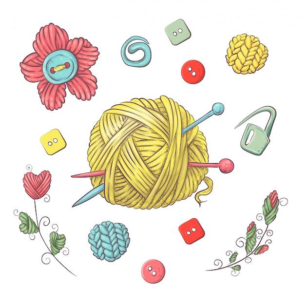 Instellen voor handgemaakte bal voor haken en breien. Premium Vector