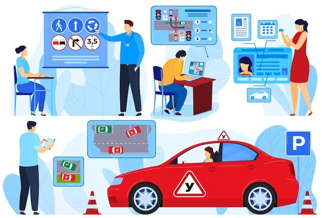 Instructeursexamen voor automobilist, mensen-leerlingen regels vector illustratie set. vrouw man student karakter leren rijden op school Premium Vector
