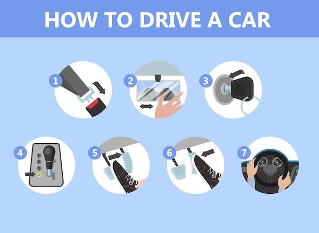 Instructie autorijden voor beginners Premium Vector