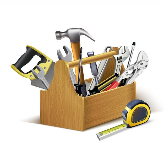 Instrumenten houten kist, gereedschapskist. Premium Vector
