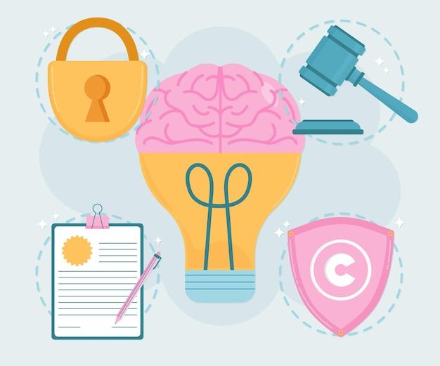 Intellectuele eigendom hersenen met gloeilamp Gratis Vector
