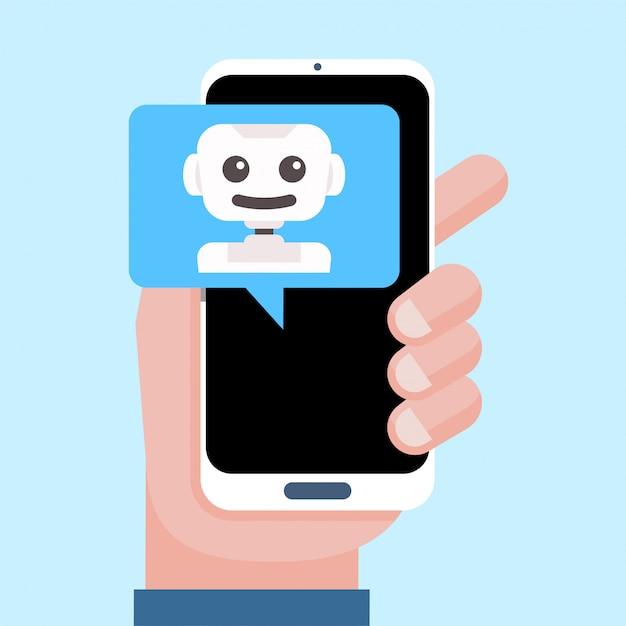 Intelligente persoonlijke assistent, virtuele assistent, chatbot, chatbotconcept Premium Vector